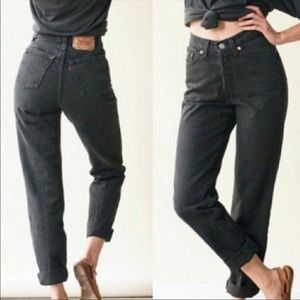 Levi's Vintage 550 Black Relaxed Fit Tapered Leg High Rise Mom Jeans Size 12